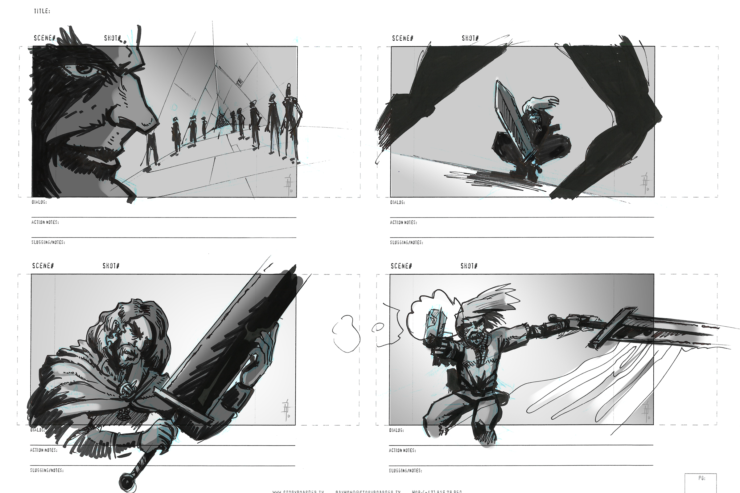 Vikings storyboard sketches in the year 3000