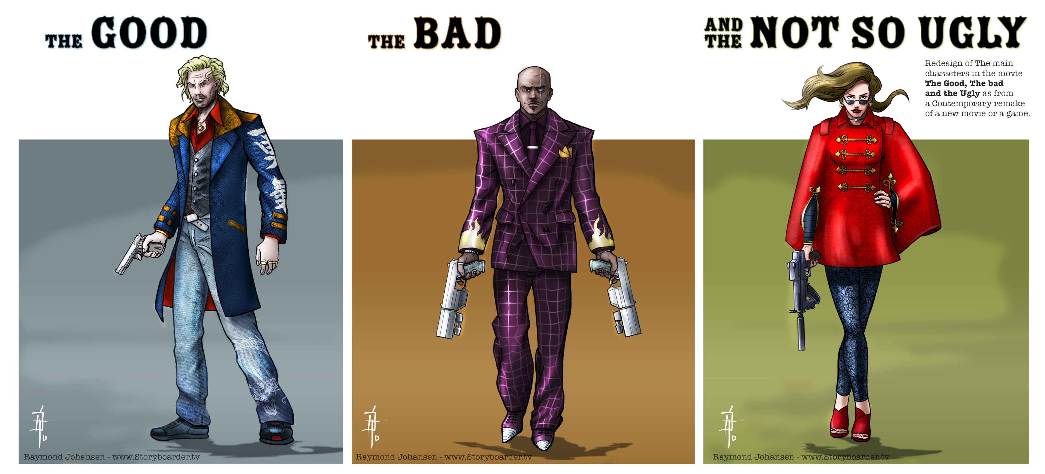 The good the bad and the ugly - characters for storyboard sketches.