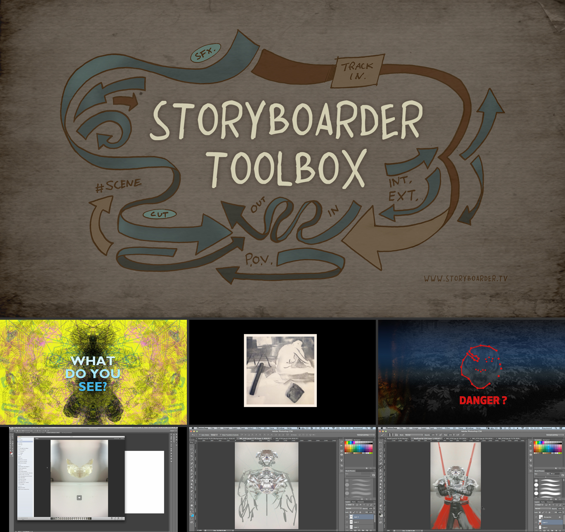 Storyboard Toolbox video tutorial banner with examples from the video.